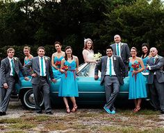 truck with wedding party
