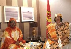 #Africa, #Women Leaders - South Africa's Minister of Home Affairs and incoming chair of the African Union (#AU) Commission Nkosazana Dlamini-Zuma (L) poses for a photograph with Malawi President Joyce Banda in Pretoria, July 30, 2012. REUTERS/Unati Ngamntwini/Government Communications and Information Systems
