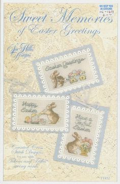 Sweet Memories of Easter Greetings - (Cross Stitch) Find your next East Cross Stitch design at Cobweb Corner and save 20% off your first order with coupon WELCOMECC #crossstitch #easter