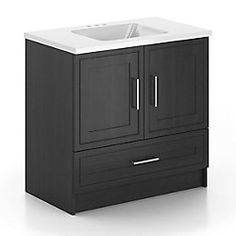 The 36 in. Classic Designs Vanity offers a great transitional look that will bring an eloquent touch to your bathroom decor. With its cultured marble top, this Classic Designs vanity is styled to last and offers ample storage space. The smooth-running and soft-closing metal drawer makes it easy to see and reach your things. Featuring high quality, european-style, adjustable, concealed hinges this pre-assembled vanity will provide years of enjoyment in your bathroom. Pair with a matching…