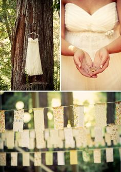 woodsy wedding @ Jess; I love this b/c it shows a simple and natural setting with beautiful simple things hung/strung but mostly let the trees and woods set the scene.  Very you.