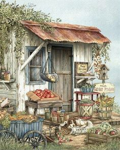 Veggies Art Print featuring the painting Uncle Ralph's Veggies by Beverly Levi-Parker Art And Illustration, Vogel Gif, Arte Country, Country Paintings, Fine Art, Counted Cross Stitch Patterns, Cross Stitches, Watercolor Paintings, Art Drawings