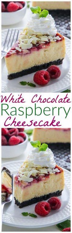 Creamy White Chocolate Cheesecake swirled with fresh raspberry, all on top of a homemade chocolate cookie crust