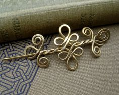 Little Celtic Shawl Pin or Brooch - Brass Celtic Double Swirls and Curls.