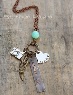 Mixed metal photographer necklace - Capture life, with long antique gold wing pendant, camera charm and personalized heart