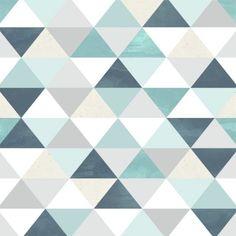 Papel de Parede Adesivo Geométrico Triangulos Azul