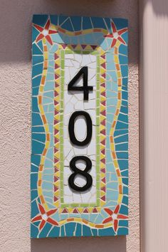 Redfish mosaic house numbers mosaic palm by HappyHomeDesignArt