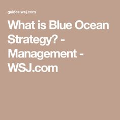What is Blue Ocean Strategy? - Management - WSJ.com
