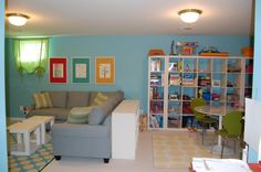 Playroom/family room; Just like the idea of maybe using couch as a divider.