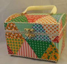 Vintage Colorful Patchwork Quilted Plastic Box Shape Purse Handbag