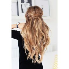 Holiday Half Updo Luxy Hair Blog All about hair! ❤ liked on Polyvore featuring beauty products, haircare, hair styling tools, hair and hairstyles