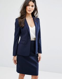 Buy it now. Reiss Indi Tailored Jacket - Navy. Blazer by Reiss, Textured ridge fabric, Lined design, Shaped shoulders, Notch lapel, One button closure, Centre vent to reverse, Regular fit - true to size, Dry clean, 50% Wool, 48% Polyester, 2% Elastane, Our model wears a UK 8/EU 36/US 4 and is 173cm/5'8 tall. ABOUT REISS Originally launched as a men�s tailoring company in 1971, London-based label Reiss apply the same clean silhouettes, attention to detail and innovative design to their…