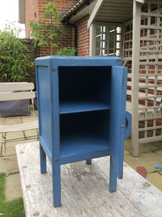 Hand painted bedside cabinet Annie Sloan Greek blue