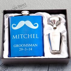 Blue Hip Flask Gift Set Engraved Stainless Wedding Groomsman Best man present From Personalised Hip Flask, Presents For Men, Flasks, Shot Glasses, Groomsman Gifts, Custom Engraving, Blue Wedding, Bridesmaid Gifts, Groomsmen