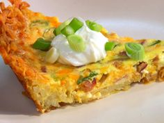 Hash Brown Quiche Recipe : I substituted browned sausage for the ham and used pepper jack cheese.