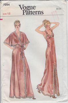 années 70 chemise de nuit vogue Pattern et Peignor longue Robe dentelle Sexy chemise de nuit taille 12