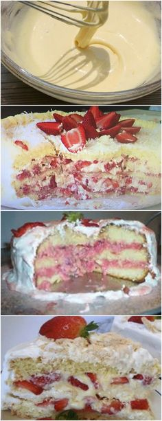 Bolo Dos Deuses, Ficou com água na boca? Então, anote a receita e faça em casa você também! VEJA AQUI>>>Cozinhe o morango sem água. Reserve! Pegue a nata e bata (sem açúcar). Junte a nata e o suspiro. Mexa bem! Em outra vasilha reserve alguns morango limpos e picados. #receita#bolo#torta#doce#sobremesa#aniversario#pudim#mousse#pave#Cheesecake#chocolate#confeitaria