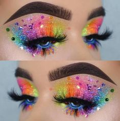 Rainbow Glitter Eyes Makeup Look For Your Next Electronic Music Festival Or Rave Pride Makeup Ideas Electronic Eyes Festival Glitter Makeup Music Rainbow Rave Makeup Eye Looks, Creative Makeup Looks, Eye Makeup Art, Colorful Eye Makeup, Eyeshadow Makeup, Glitter Makeup Looks, Unicorn Eyeshadow, Bright Eyeshadow, Makeup Brushes