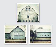 "Aqua Farmhouse Barn Print Set - 15% Discount - Set of 3 Teal Barn Prints - Rustic Home Decor - Shabby Chic Barn Art. 3 unframed horizontal pastel aqua barn photographs. • Borderless fine art photographs with a soft luster finish. • Available in sizes 8x10 through 30x40 (Click ""Select Options"" menu to choose). • Watermark does not appear on final photograph."