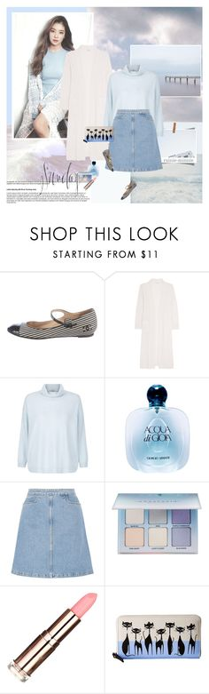 """""""Sunday,Sunny blue skies.."""" by rainie-minnie ❤ liked on Polyvore featuring Chanel, Eres, Hobbs, Giorgio Armani, M.i.h Jeans, Anastasia Beverly Hills, Kate Spade, maryjanes, personalstyle and turtleneck"""