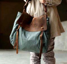 Schultertaschen - Schulter Leder Notebook Tasche Leinwand Baumwolle - ein Designerstück von zhizhiluck bei DaWanda