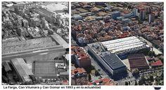 La Farga, Can Vilumara Textil Seder y Can Gomar en el año 1993 y en la actualidad
