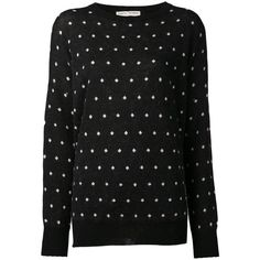 Each X Other polka dot sweater (25.125 RUB) ❤ liked on Polyvore featuring tops, sweaters, black, black long sleeve sweater, black merino wool sweater, black long sleeve top, long sleeve tops and dot sweater
