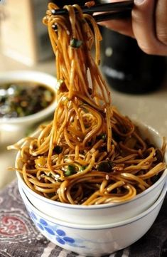 Lo Mien Noodles - Cook pasta to al dente, drain. Saut garlic and green onions in veg oil and a little sesame oil. And 1Tbsp red pepper flakes if you like heat. Toss in pasta and 1/4 cup Soy sauce and sesame seeds. Cook 2 minutes tossing frequently