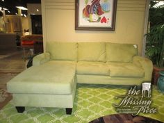 "Transitional style sofa with reversible chaise in sage on dark feet. Fun, fresh color! Measures 87""long x 40""deep x 30""high. Perfect size for your living room or family room."