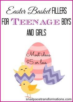 Easter basket filler ideas for teenage boys and girls. 10 ideas for boys and 10 ideas for girls. Most under $5.