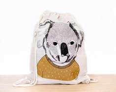 Koala  screen printed canvas backpack tote by depeapa on Etsy, $24.00 // Quirky