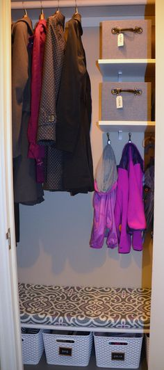 Neat Little Nest: Organizing A Tiny Coat Closet #organize #closet #mudroom