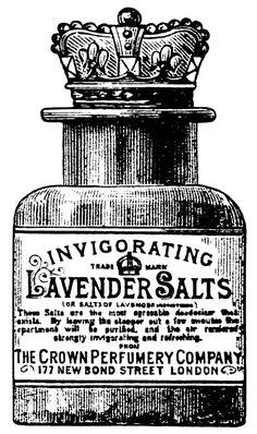 crown perfumery co, lavender salts illustration, junk journal printable, vintage perfume clip art, black and white graphics