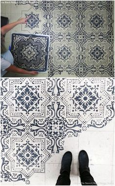 10 Stenciled Floor Makeovers and DIY Ideas Made For Walkin' - Floor Stencils by Royal Design Studio
