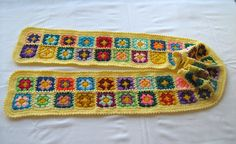 The Yellow Granny Square Scarf at turtlemurtle via Etsy.