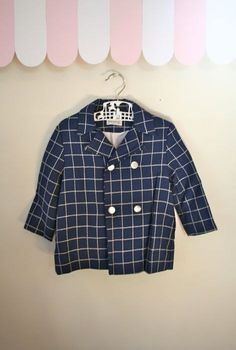 vintage 60s boy's coat  MERRY MITES plaid peacoat / 3T by MsTips, $32.00