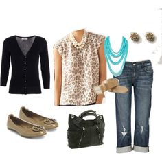cardi over print top with rolled boyfriend jeans and flats