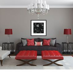 Grey-Room-With-Red-Accents, living room =) Living Room Red, Living Room Interior, Living Room Decor, Grey Room, Black Furniture, Red Accents, Room Colors, Colours, Family Room
