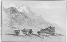Mountain Landscape, John Singer Sargent 1871, Fogg Art Museum - Graphite and white gouache on gray wove paper