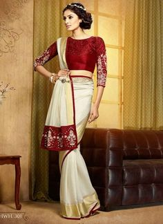 185955 Beige and Brown,Red and Maroon color family Embroidered Sarees,Party Wear Sarees in Viscose fabric with Lace,Machine Embroidery,Thread work with matching unstitched blouse. Indian Designer Sarees, Latest Designer Sarees, Hyderabad, Indian Dresses, Indian Outfits, Ethnic Outfits, Indian Bridal Lehenga, Indian Sarees, Bengali Saree