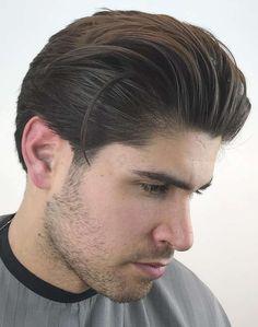 slicked back hair with beard