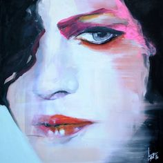 Buy Gleams and shadows, a Oil on Canvas by Anna Matykiewicz from Ireland. It portrays: Portrait, relevant to: pink, portrait, women, street art, contemporary, emotional, eyes Emotional portrait, retrospection what's good and what's bad, finding balance