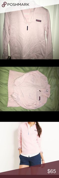 Light pink Vineyard Vines Shep shirt Looking for the perfect pullover for those chilly summer nights or even those summer days on the boat? Look no further this is the perfect item for you! Vineyard vines is perfect for a summer on a boat or summer up north! This shep shirt is not too thick nor too thin! The light color looks perfect against tan skin from the summer sun! Only worn once or twice this is just like new! Vineyard Vines Tops Sweatshirts & Hoodies
