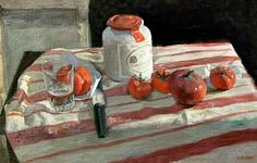 George Weissbort  Still Life with Mustard Jar, Knife and Tomatoes on Striped Cloth  20th century