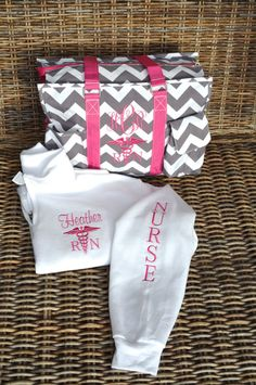 """Utility Tote & Pullover, Nurse's tote, Teacher's tote, 19"""" Gray Chevron monogrammed by StitchedInStyle1 on Etsy. Check out that cool T-Shirt here: https://www.sunfrog.com/Funny-nurse-T-Shirt-Black-Ladies.html?53507"""