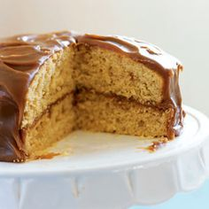 Brown Sugar Caramel Layer Cake...lightened version with thick caramel frosting