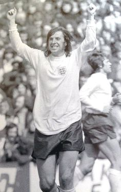 Stan Bowles celebrates scoring against Wales at Ninian Park as England secured a 2-0 victory in 1974, Kevin Keegan scored the other.