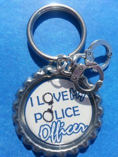 Police Officer Wife Bottle Cap Keychain or by tracikennedy on Etsy, $6.00