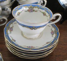 The Bolton Tirschenreuth 4677 China Set 89 PCS  Bavaria Blue Border Floral Swags #porcelainchina