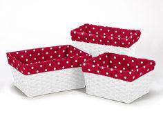 Sweet Jojo Designs Decorative Basket Liners for Polka Dot Ladybug Collections - Polka Dot Print